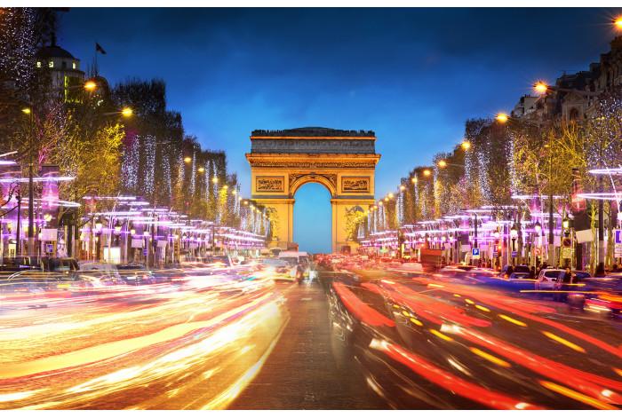 Модульная картина Триумфальная арка ночью