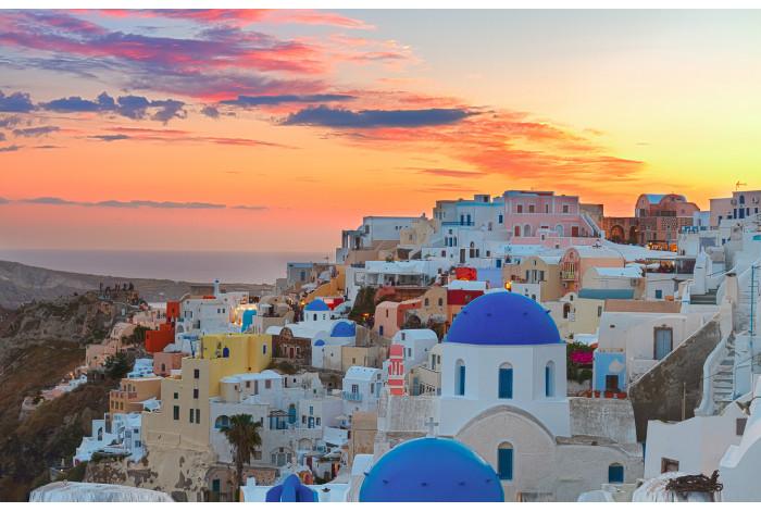 Модульная картина Заход солнца в Греции