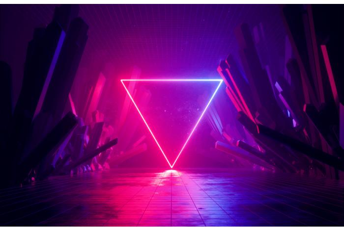 Модульная картина Неоновый треугольник