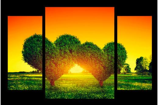 Модульная картина Деревья сердца