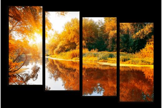 Модульная картина Осенняя река