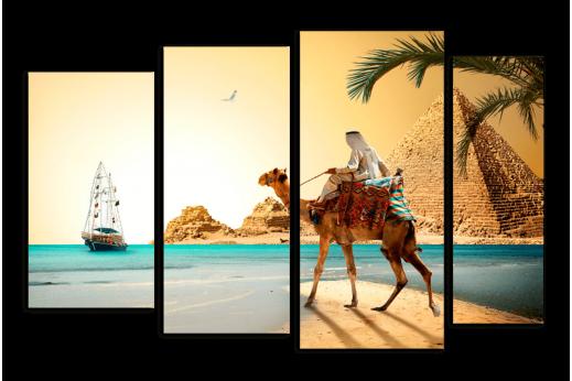 Модульная картина Верблюд на фоне Пирамид