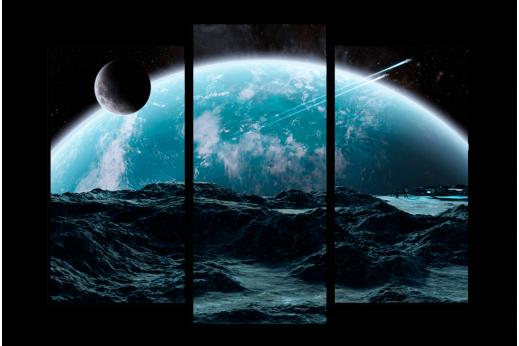 Модульная картина Закат планет