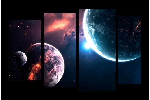 Модульная картина Космические планеты