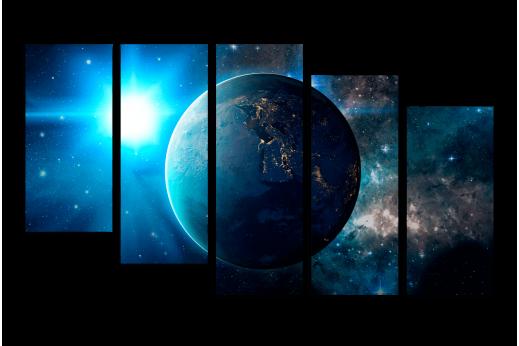 Модульная картина Планета в космосе
