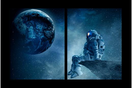 Модульная картина Фантазии космонавта