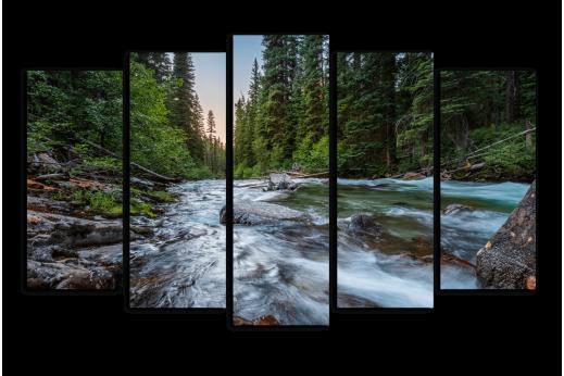 Модульная картина Быстрая река