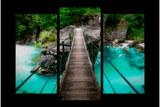 Модульная картина По мосту через реку