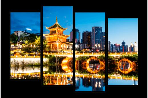 Модульная картина Вечер в Китае