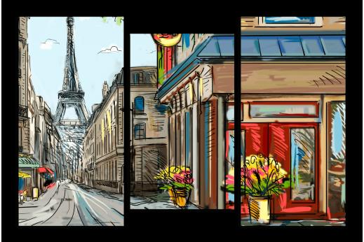 Модульная картина Набросок из Парижа