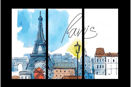 Модульная картина Париж акварелью