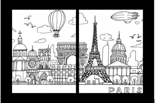 Модульная картина Париж в линиях