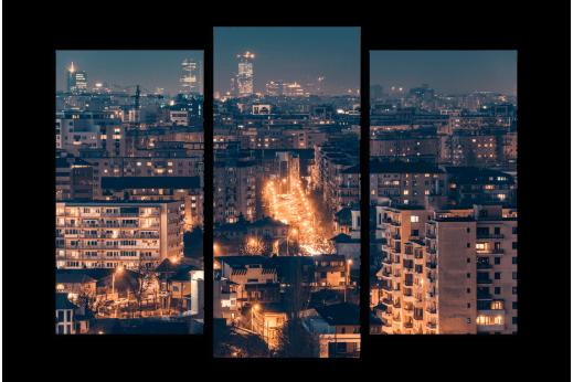 Модульная картина Блики города