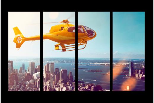 Модульная картина Желтый вертолет над городом