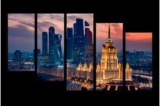 Модульная картина Вечер в Москве