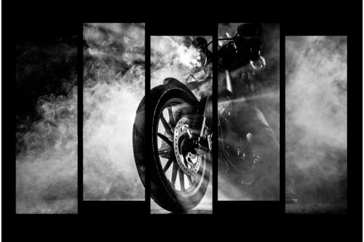 Модульная картина Мотоцикл в дыму